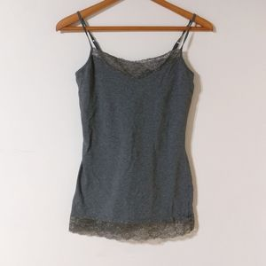 Express sexy stretch lace trim shelf bra tank top
